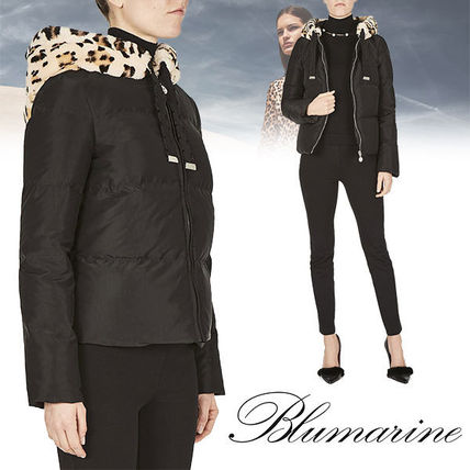Short Leopard Patterns Plain Leather Down Jackets