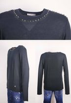 VERSACE Crew Neck Wool Studded Long Sleeves Plain Sweaters