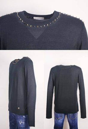 Crew Neck Wool Studded Long Sleeves Plain Sweaters