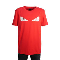 FENDI Street Style U-Neck Plain Cotton Short Sleeves T-Shirts