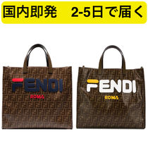 FENDI Monoglam Casual Style A4 2WAY Leather Totes