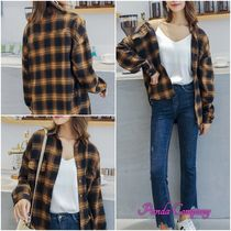 Tartan Other Check Patterns Casual Style Long Sleeves Cotton