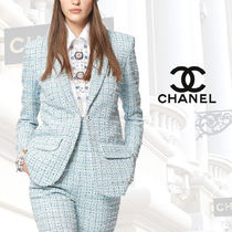 CHANEL Other Check Patterns Tweed Blended Fabrics Street Style