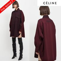 CELINE Stripes Wool Bi-color Medium Oversized Elegant Style Bold