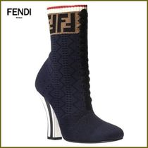 FENDI Lace-up Casual Style Street Style Block Heels Shoes