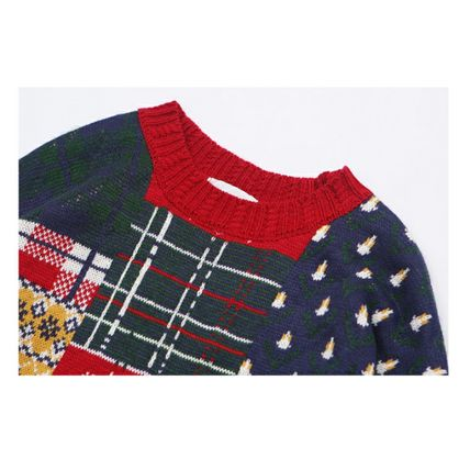 Knits & Sweaters Crew Neck Pullovers Street Style Long Sleeves 7