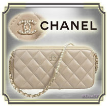 CHANEL MATELASSE Lambskin 2WAY Chain Plain Elegant Style Shoulder Bags