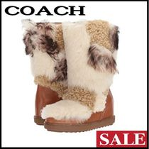 Coach Round Toe Casual Style Fur Plain Other Animal Patterns