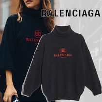 BALENCIAGA Casual Style Cashmere Long Sleeves Plain Medium Oversized