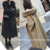Casual Style Wool Blended Fabrics Plain Long Handmade