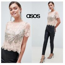 ASOS Boat Neck Cropped Plain Medium Elegant Style