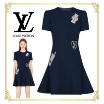 Louis Vuitton Casual Style Wool Flared Medium Short Sleeves Dresses