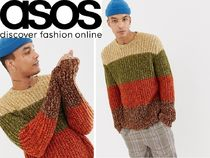 ASOS Crew Neck Pullovers Stripes Wool Street Style Long Sleeves