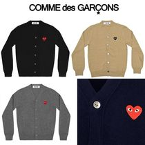 COMME des GARCONS Heart Unisex Wool Street Style V-Neck Long Sleeves Cardigans