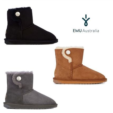Round Toe Casual Style Fur Plain Khaki Ankle & Booties Boots
