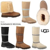 UGG Australia Round Toe Rubber Sole Sheepskin Plain Over-the-Knee Boots
