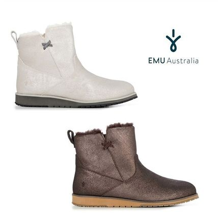 Round Toe Fur Plain Elegant Style Ankle & Booties Boots