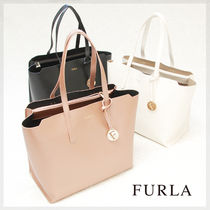 FURLA SALLY Casual Style Saffiano Plain Leather Totes