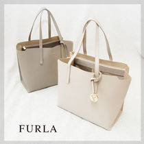 FURLA SALLY Casual Style Plain Leather Totes