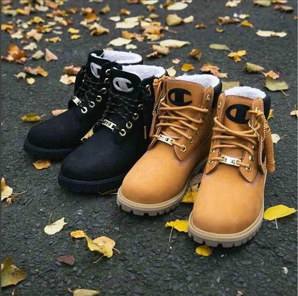 Unisex Blended Fabrics Street Style Collaboration Boots