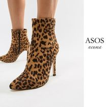 ASOS Leopard Patterns Pin Heels Ankle & Booties Boots
