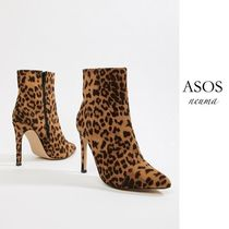 ASOS Leopard Patterns Pin Heels Boots Boots