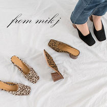 Leopard Patterns Square Toe Suede Street Style Plain