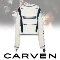 CARVEN Cable Knit Casual Style Wool Medium Oversized Knitwear