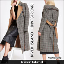 River Island Other Check Patterns Casual Style Long Coats