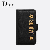 Christian Dior Chain Plain Leather Smart Phone Cases