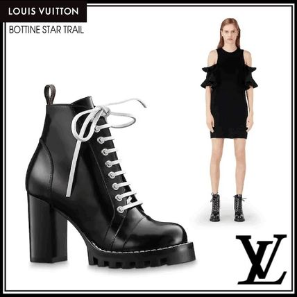145d8e8e8f6 Louis Vuitton Lace-up Plain Leather Block Heels Lace-up Boots