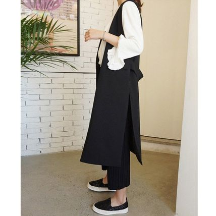 Casual Style Plain Long Street Style Oversized Vests