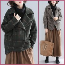 Short Other Check Patterns Zigzag Casual Style Peacoats