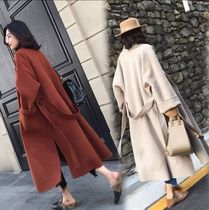 Wool Plain Long Wrap Coats