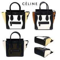 CELINE Luggage Plain Leather Khaki Shoulder Bags