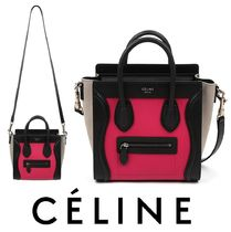 CELINE Luggage Plain Leather Shoulder Bags