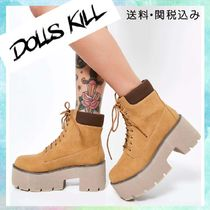 DOLLS KILL Platform Lace-up Casual Style Street Style Lace-up Boots