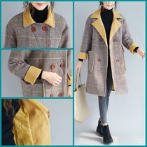 Tartan Casual Style Long Oversized Peacoats