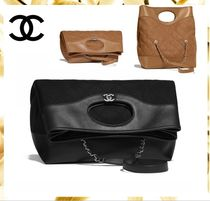 CHANEL Calfskin Blended Fabrics A4 2WAY Plain Elegant Style Totes