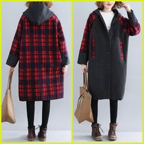 Tartan Casual Style Street Style Medium Oversized Coats