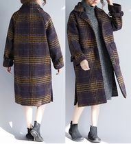 Glen Patterns Casual Style Long Oversized Peacoats