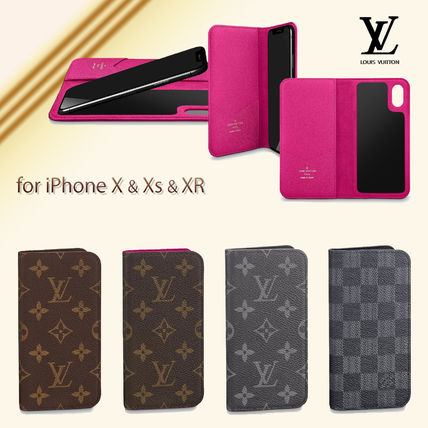 Monogram Unisex Leather Smart Phone Cases