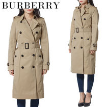Burberry THE KENSINGTON Casual Style Plain Long Trench Coats