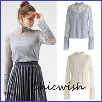 Chicwish Flower Patterns Blended Fabrics Long Sleeves Medium Lace