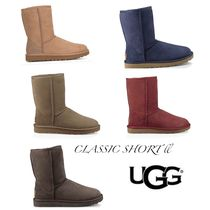 UGG Australia CLASSIC SHORT Round Toe Rubber Sole Casual Style Street Style Plain