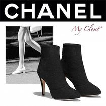 CHANEL ICON Plain Toe Tweed Street Style Plain Pin Heels Oversized
