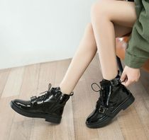 Round Toe Casual Style Enamel Ankle & Booties Boots