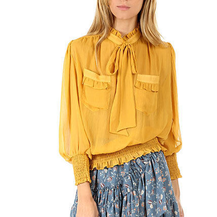 Puffed Sleeves Street Style Plain Shirts & Blouses