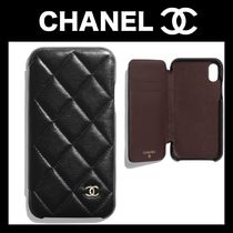 CHANEL Plain Leather Smart Phone Cases