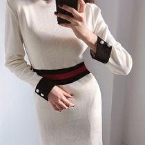 Tight Bi-color Long Sleeves Medium High-Neck Elegant Style
